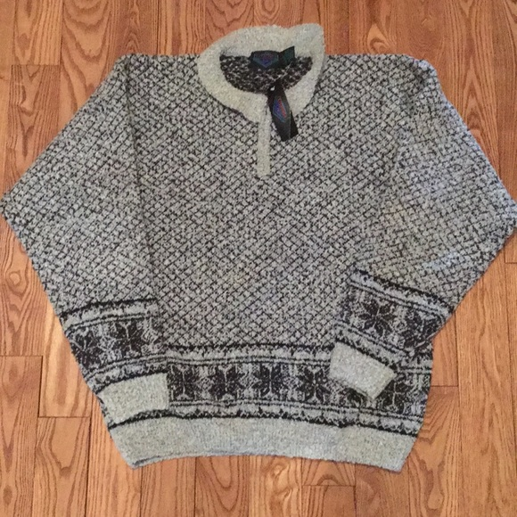 Vintage Etchings Mens Large Wool Pullover Sweater